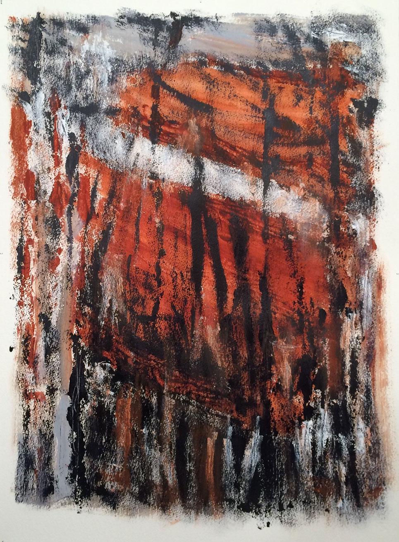 N°2338 - Forêt - Acrylique et pigments sur papier - 76 x 56 cm - 18 avril 2016
