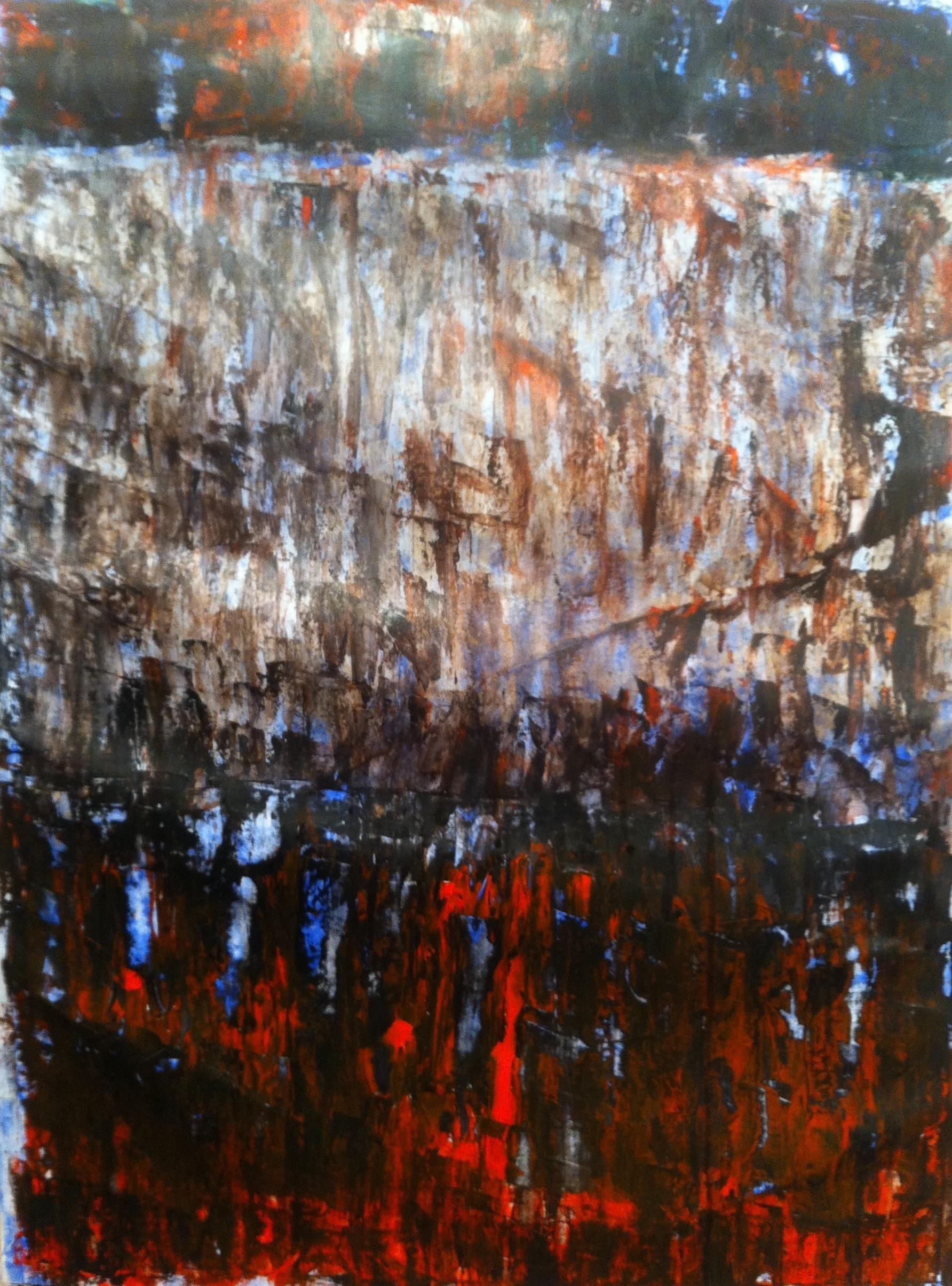 N° 1042 - Cascade vitrail - Acrylique sur papier - 74 x 53,5 cm - 13 janvier 2014