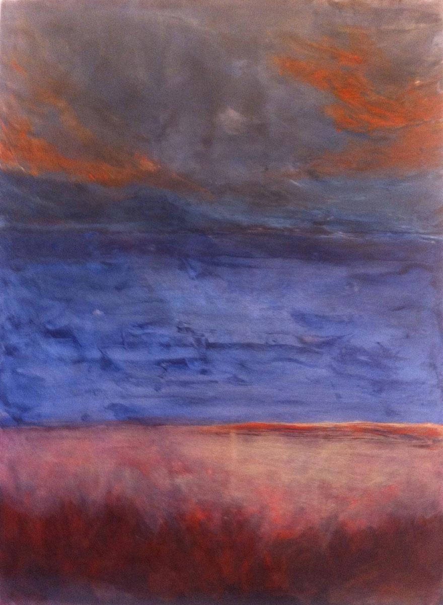 N°1087 - Après la pluie - Acrylique sur papier - 58,5 x 43,5 cm - 25 janvier 2014