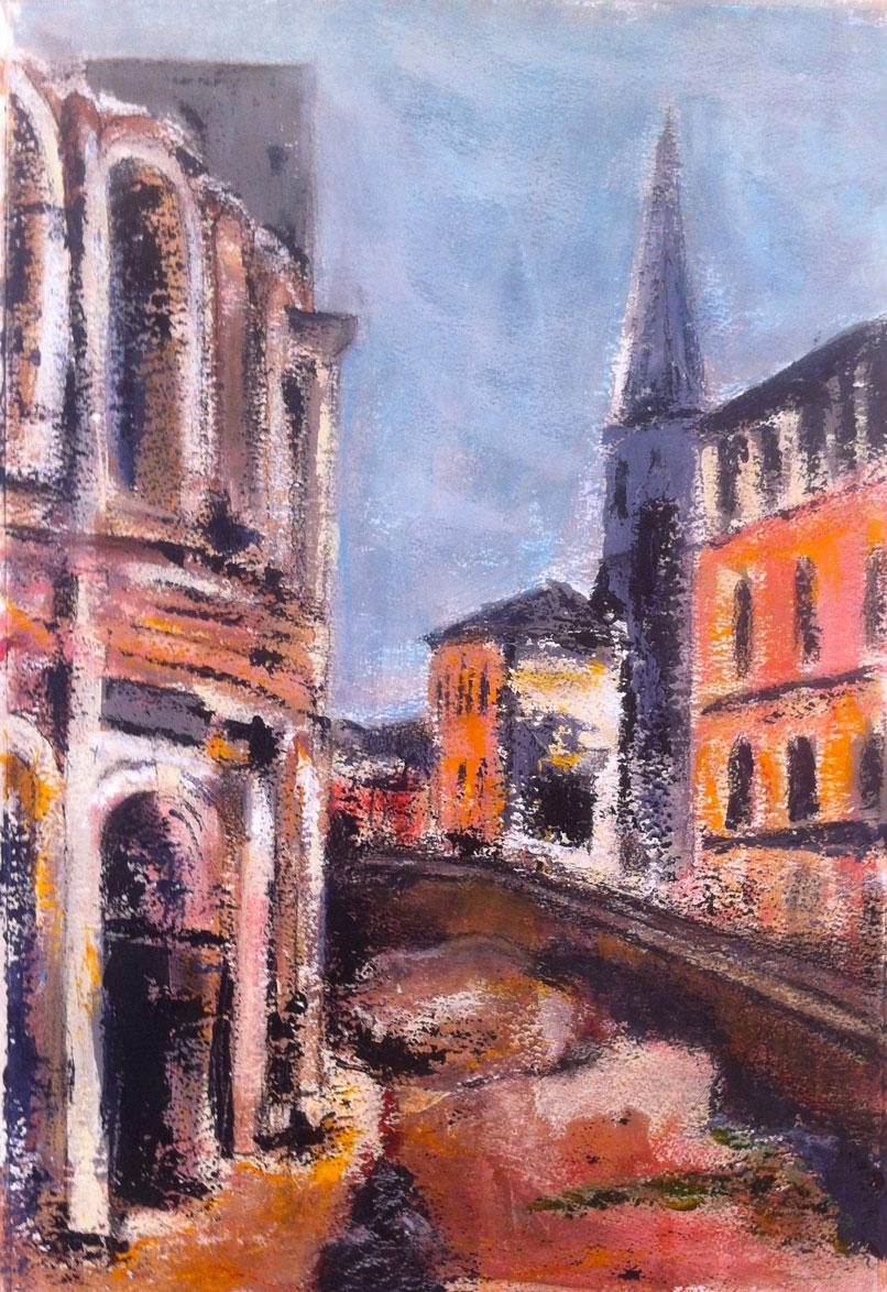 N°1420 - Rond-point des Arènes à Arles - Acrylique et pastel sur papier - 54,5 x 37 cm - 14 mai 2014