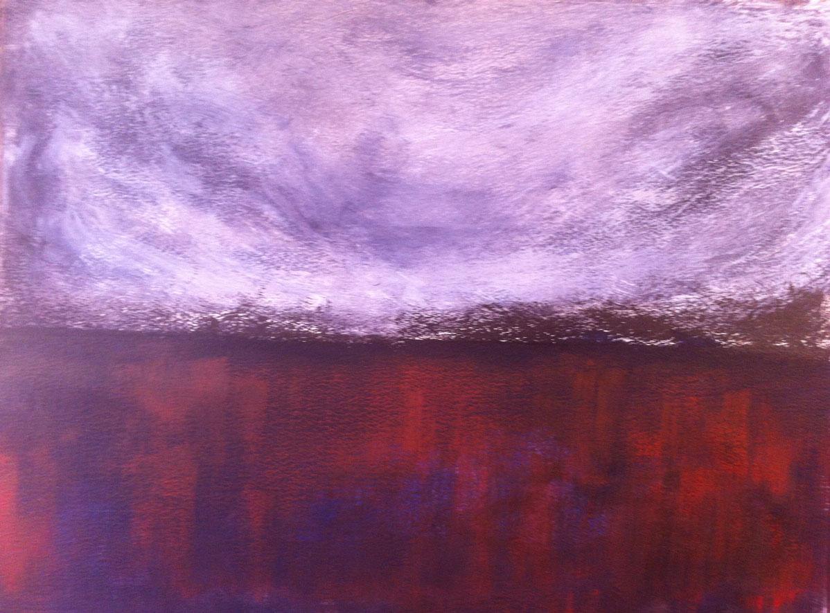 N°628 - Ciel d'orage - Acrylique sur papier - 65 x 76,5 cm - 6 septembre 2013