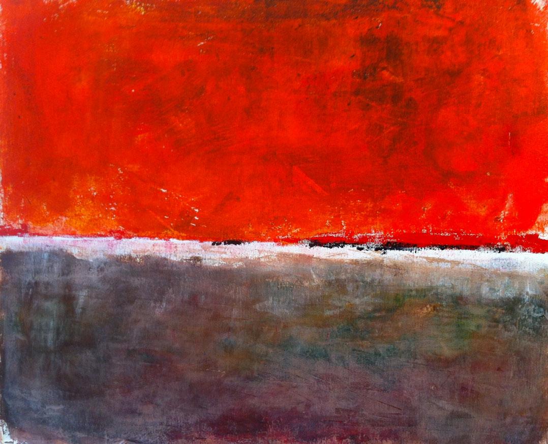 N° 646 - Ciel de feu - Acrylique sur toile - 44 x 56 cm - 15 septembre 2013