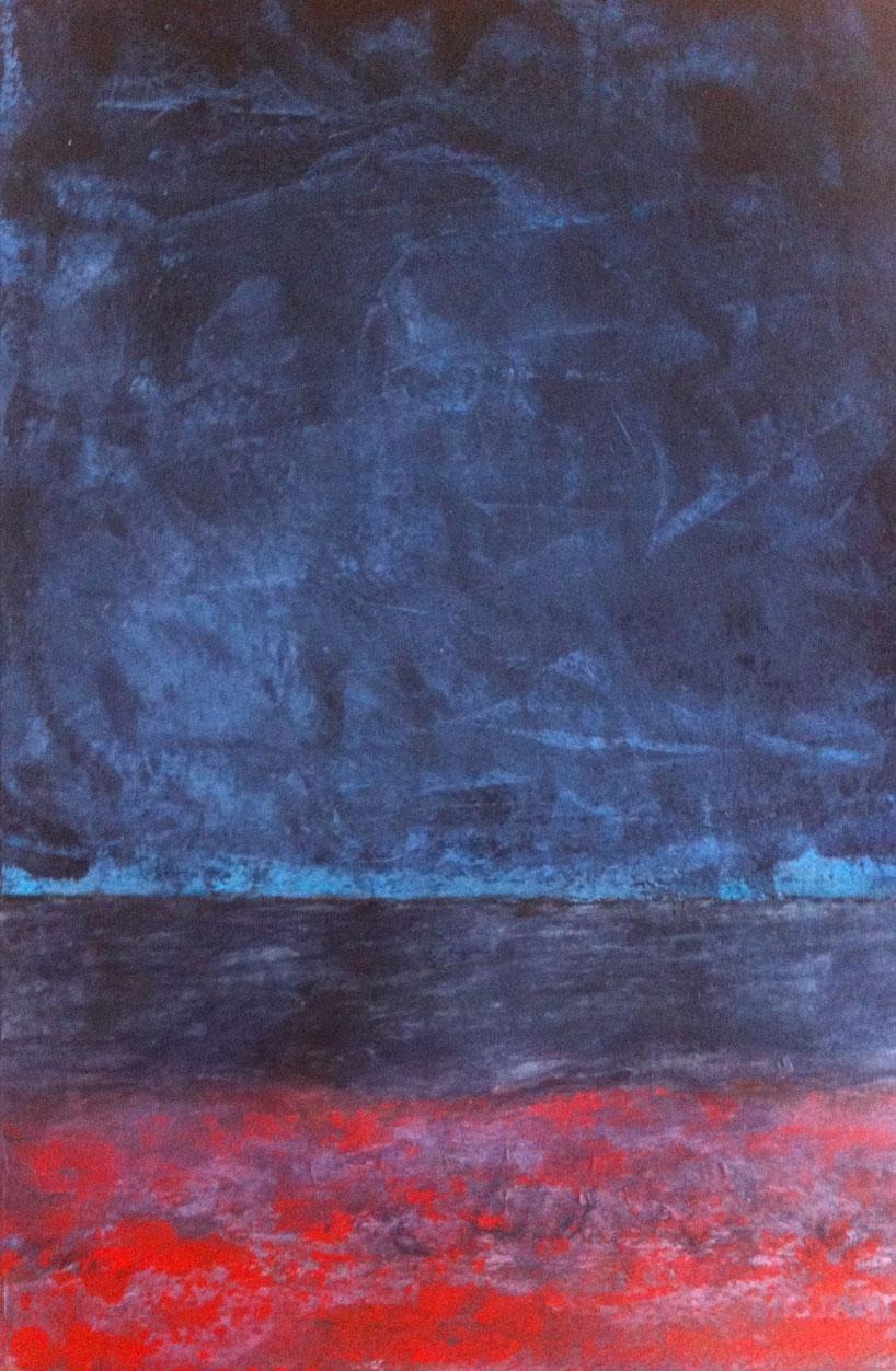 N°664 - Ciel d'ardoise - Acrylique sur papier - 54 x 35,5 cm - 19 septembre 2013
