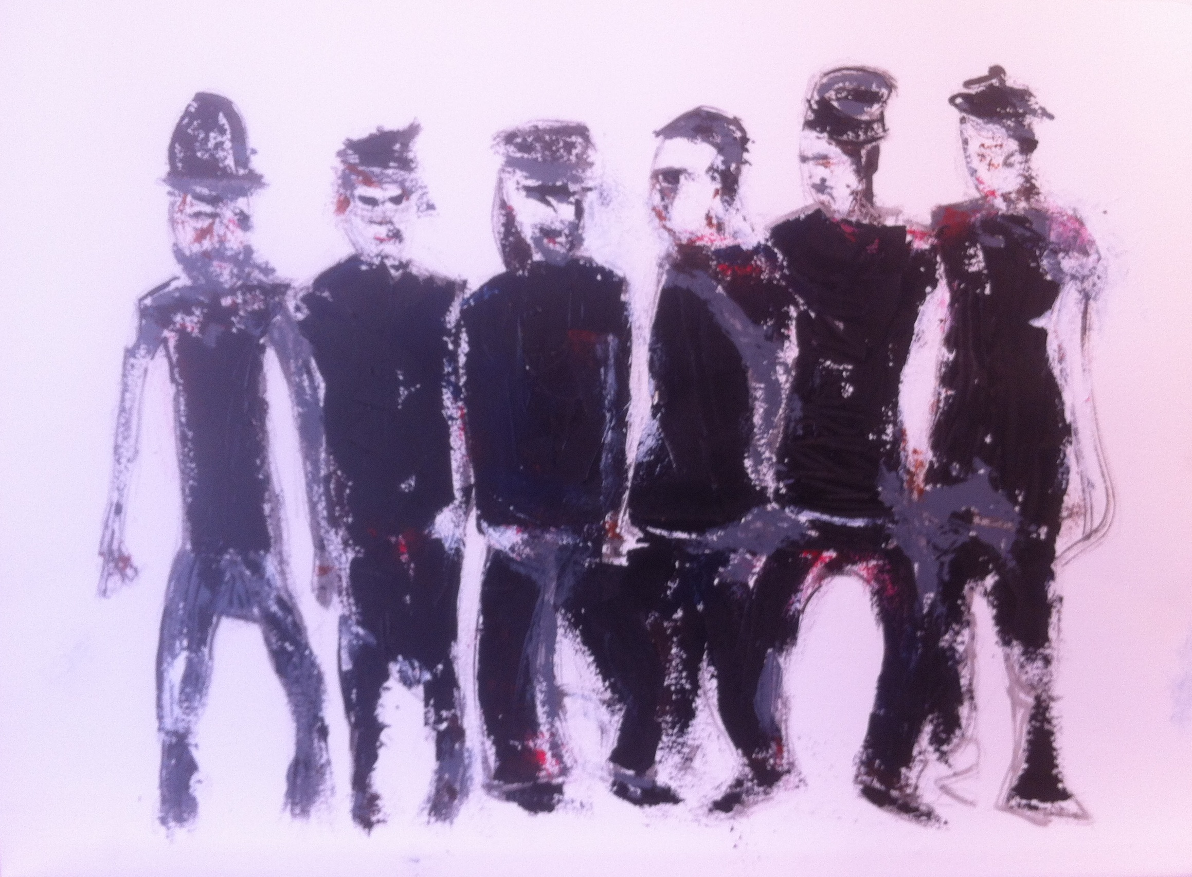 N° 1555 - Urban warriors - Acrylique sur papier - 56 x 75 cm - 4 septembre 2014