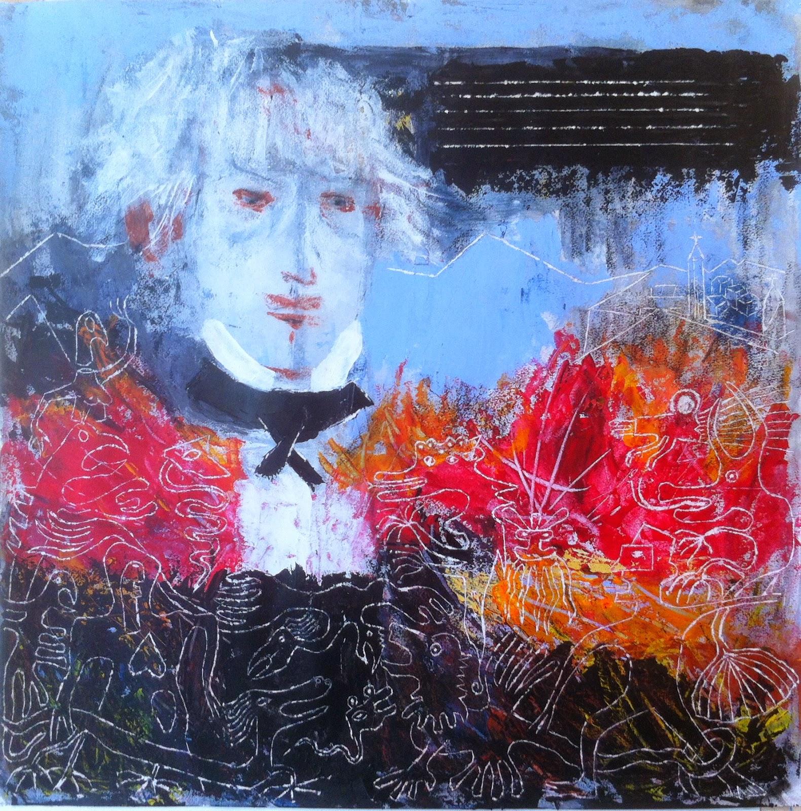 N°1528- Symphonie Fantastique - Acrylique sur papier - 65 x 65 cm - 31 juillet 2014