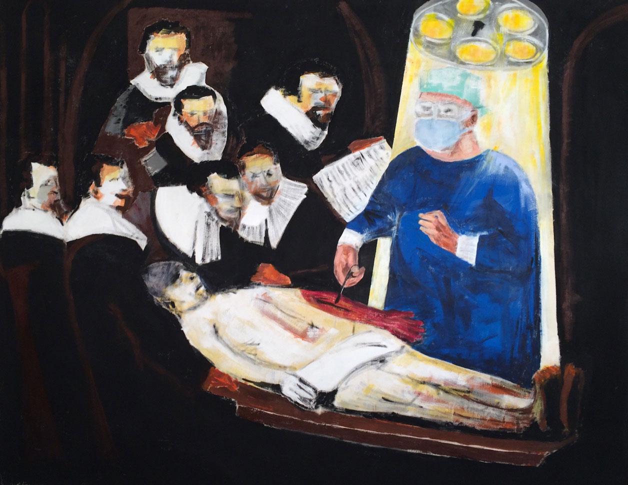 N°2590 - La leçon d'anatomie revisitée - Acrylique sur toile - 114 x 146 cm - 22 septembre 2016