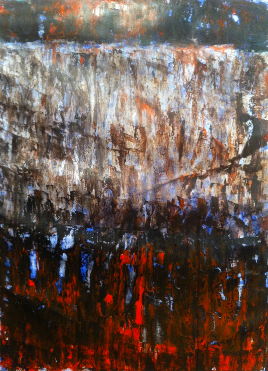 N°1042 - Cascade - Acrylique sur papier - 58,5 x 43 cm - 13 janvier 2014
