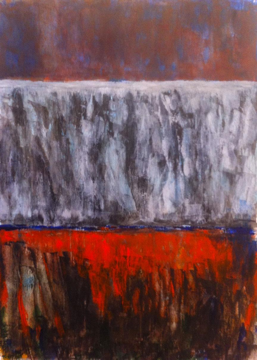 N° 1054 - Cascade - Acrylique sur papier - 74 x 53,5 cm - 15 janvier 2014