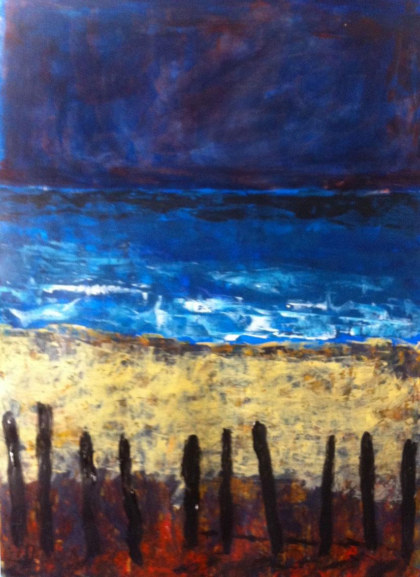 N°1069 - Bord de mer aux ganivelles - Acrylique sur papier - 59 x 43 cm - 21 janvier 2014