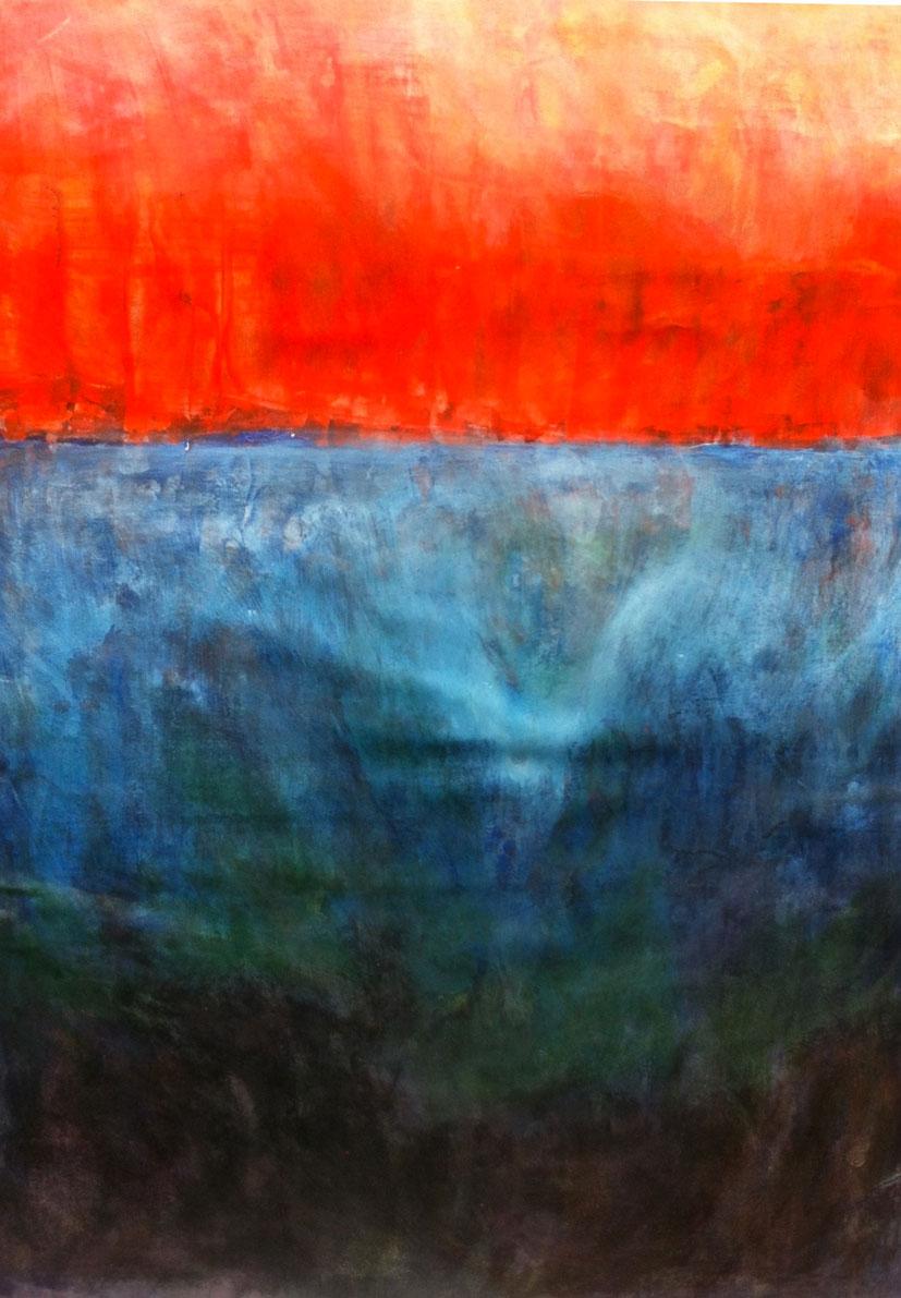 N°1096 - Les eaux d'en-bas - Acrylique sur papier - 59 x 43 cm - 28 janvier 2014
