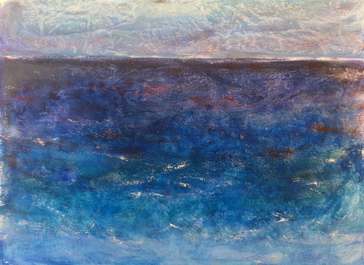 N°1330 - Haute mer - Acrylique sur papier - 53,5 x 74 cm - 8 avril 2014