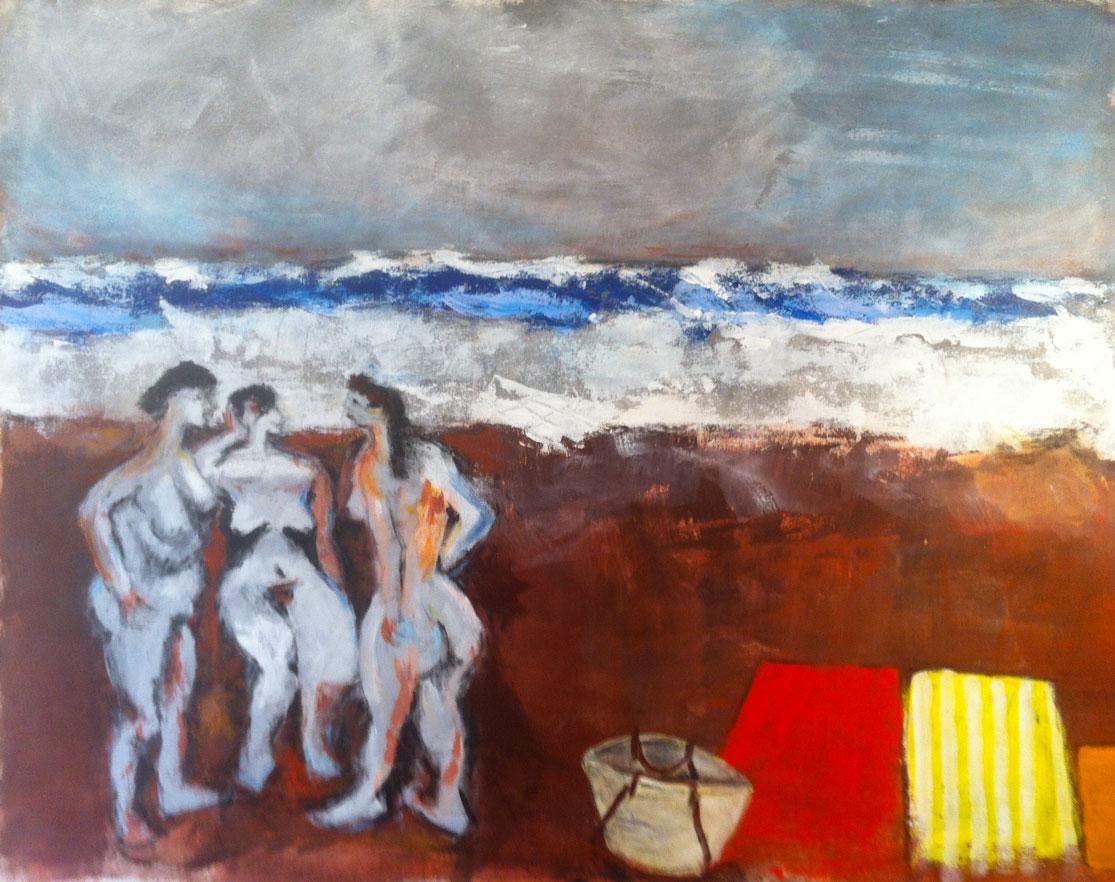 N°1483 - Trois baigneuses à la mer agitée - Acrylique sur toile - 114 x 146 cm - 16 juin 2014