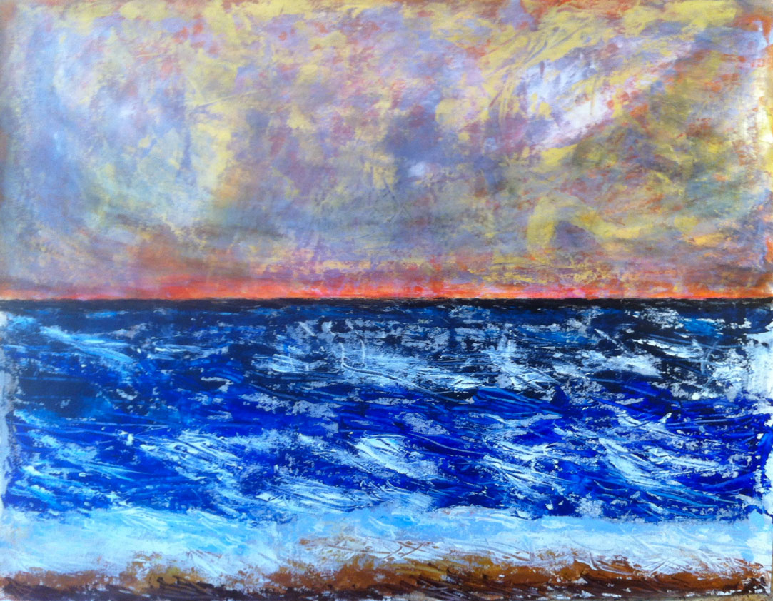 N°1510 - Quelque part au bord de mer au coucher du soleil - Acrylique sur papier - 100 x 130 cm - 15 juillet 2014