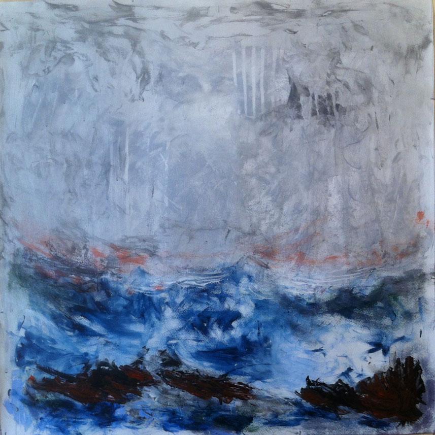 N° 1537 - Epave - Acrylique sur papier - 65 x 65 cm - 31 juillet 2014