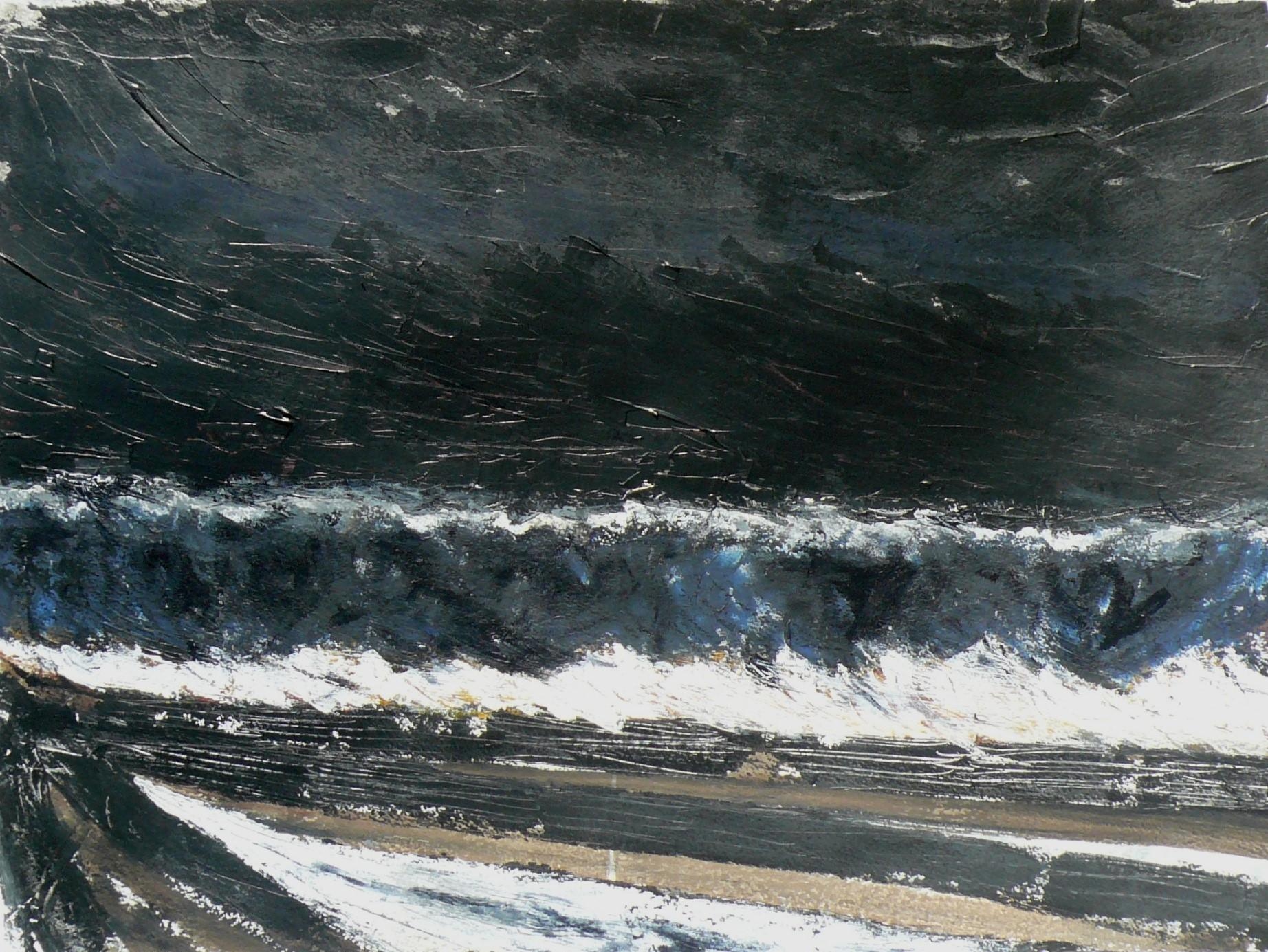 N°1546 - Grande vague nocturne - Technique mixte sur papier - 56 x 75 cm - 16 août 2014
