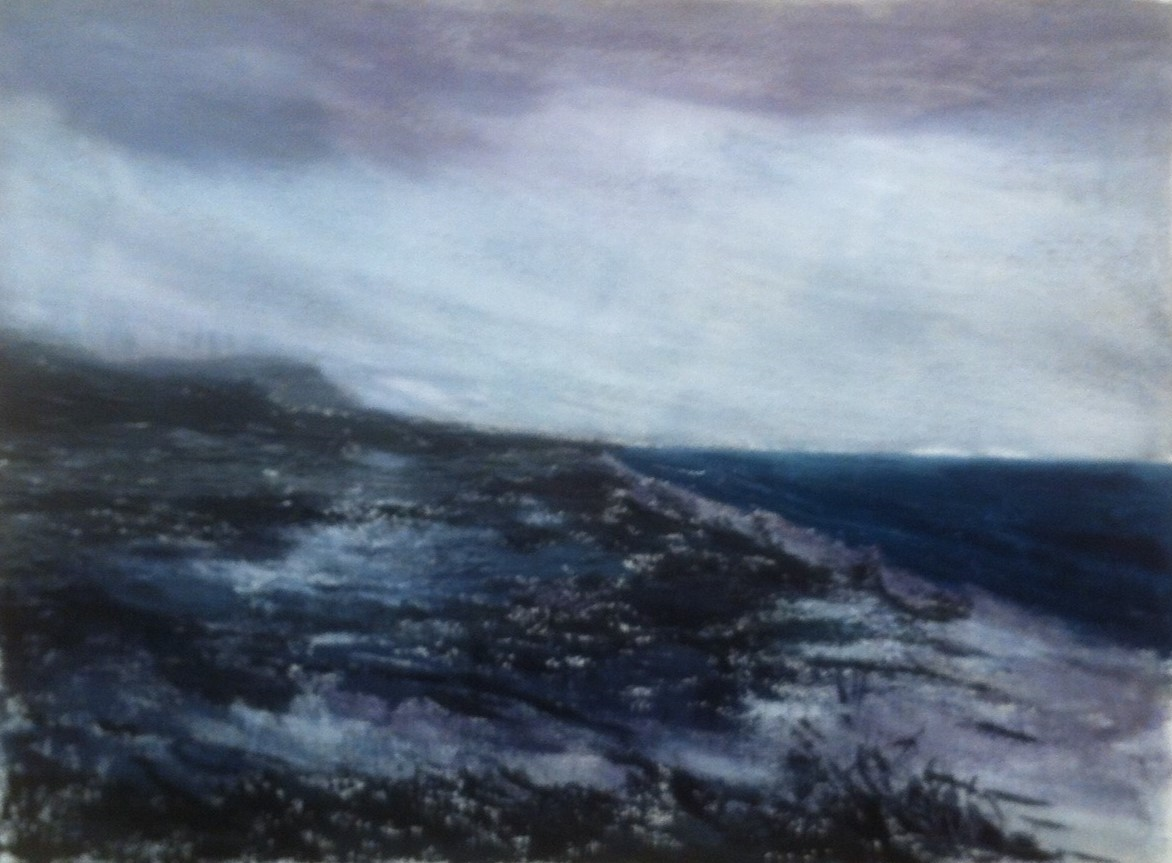 N°1735 - L'hiver, sur la plage abandonnée - Acrylique sur papier - 55 x 74,5 cm - 8 février 2015
