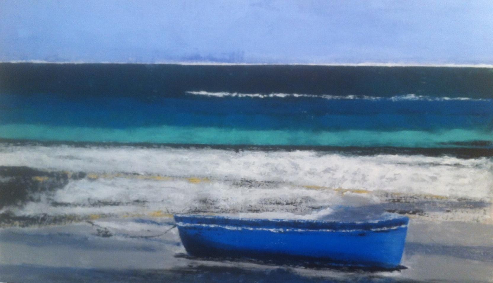 N°1843 - Barque bleue - Acrylique et pigments sur toile - 81 x 130 cm - 9 avril 2015