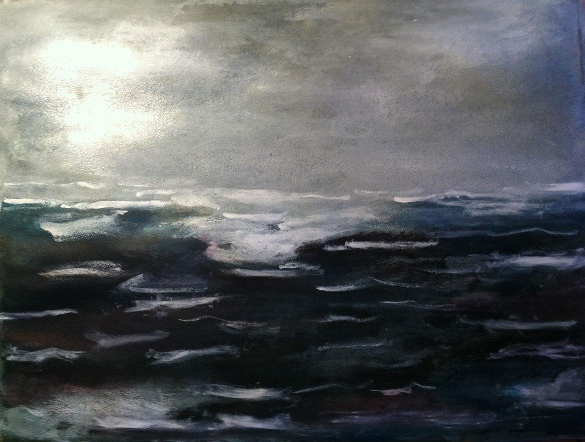 N°187 - Tempête en vue - Acrylique sur papier - 46,5 x 62,5 cm - 7 février 2013