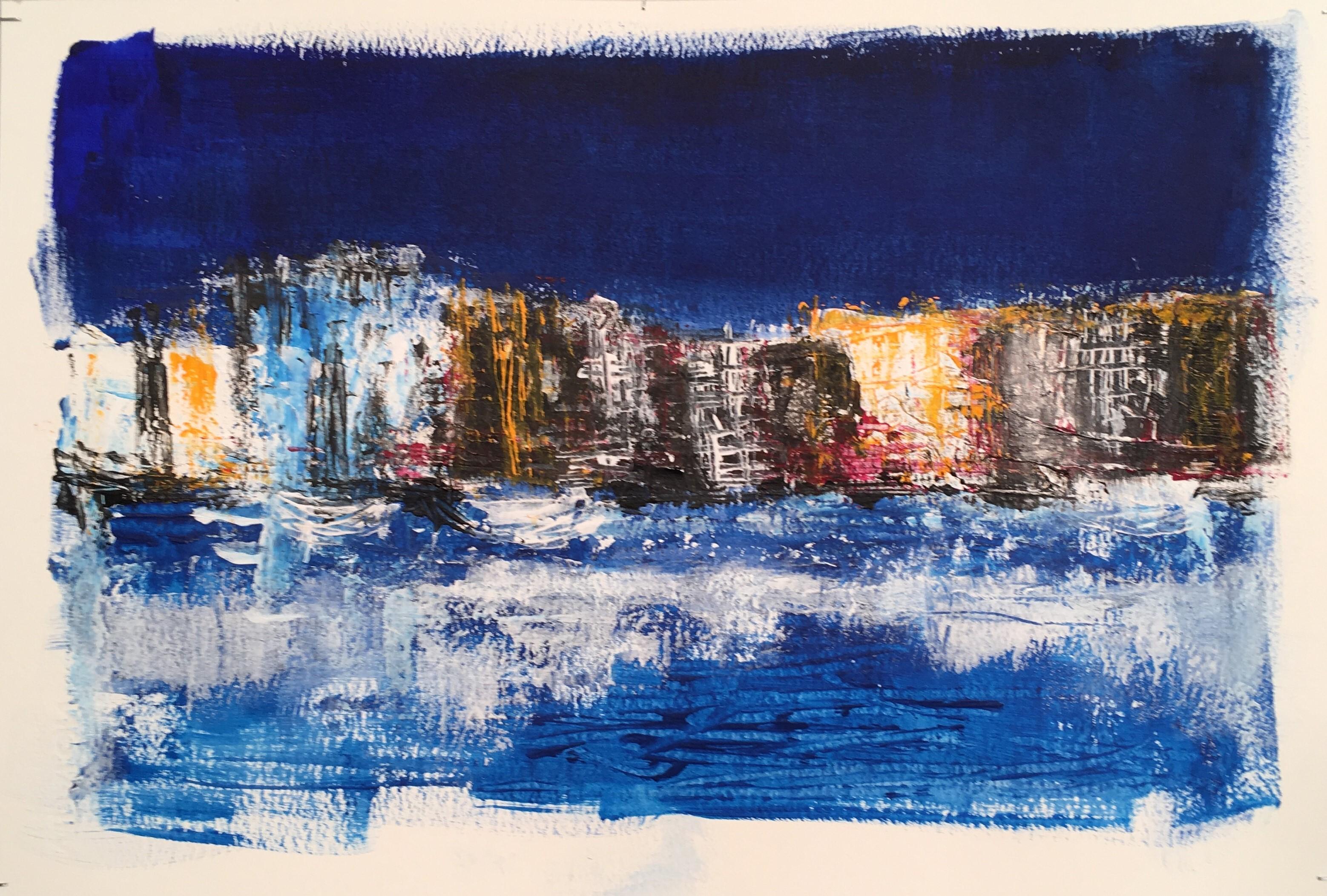 N° 4147 - Port - Acrylique sur papier - 35 x 56 cm - 20 juin 2018