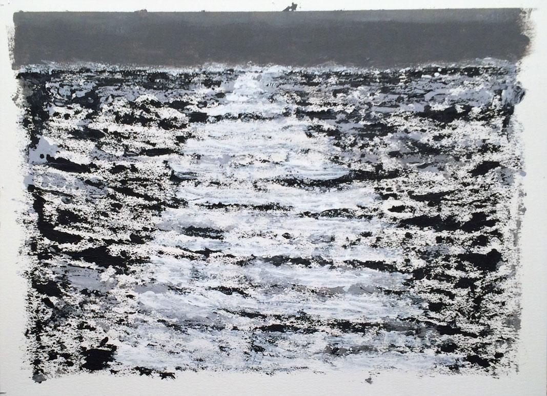 N°2356 - Sillage - Acrylique sur papier - 56 x 76 cm - 22 avril 2016