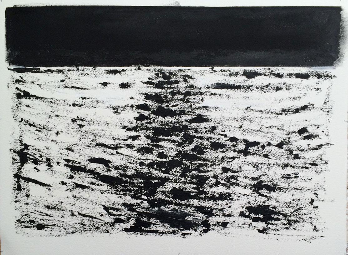 N°2365 - Sillage - Acrylique sur papier - 56 x 76 cm - 22 avril 2016