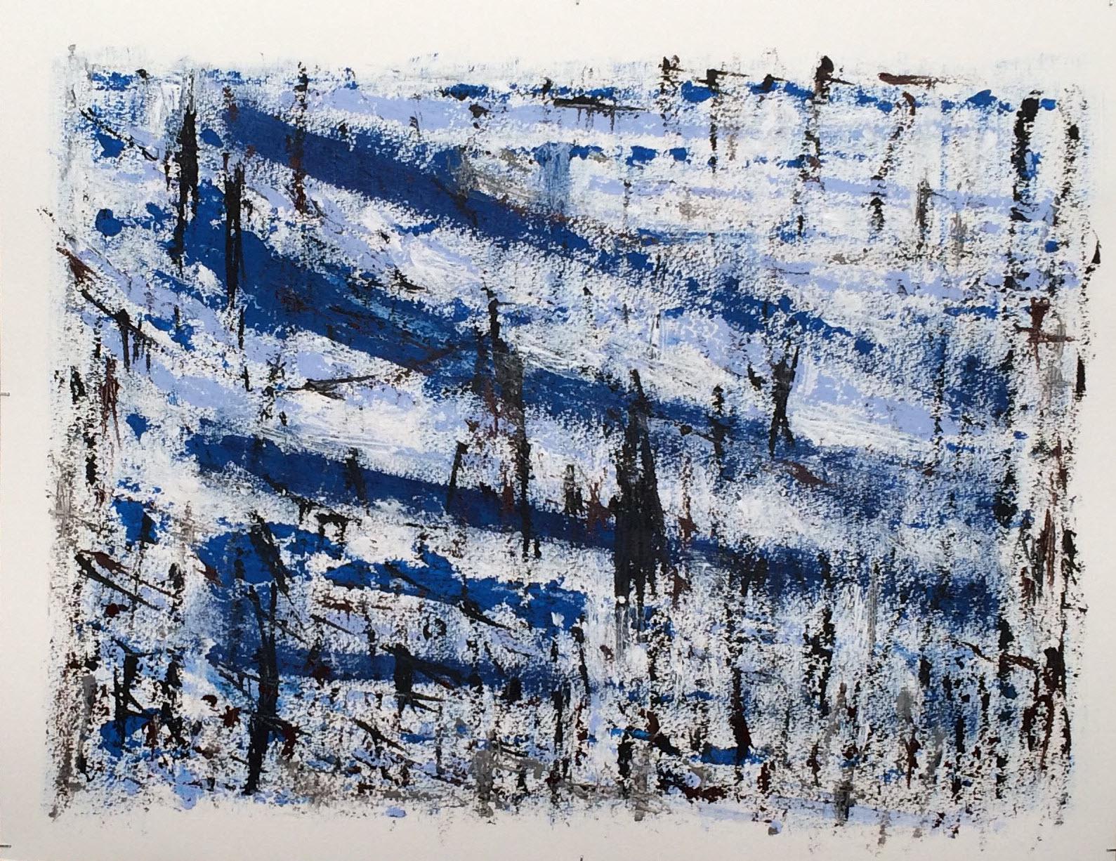 N°2410 - Roseaux - Acrylique sur papier - 50 x 65 cm - 6 avril 2016