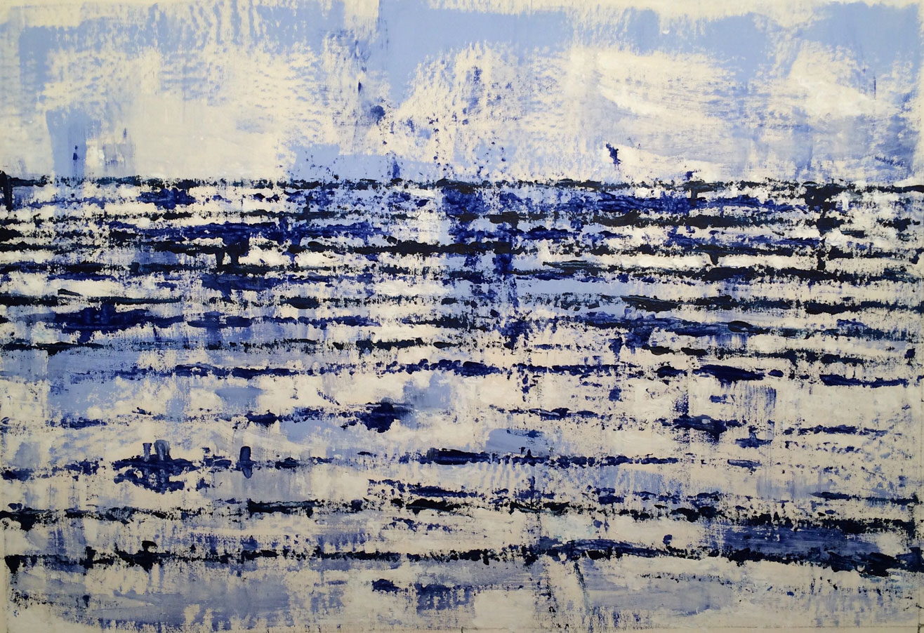N°2482 - Vaguelettes - Acrylique et pigments sur toile - 89 x 130 cm - 12 mai 2016