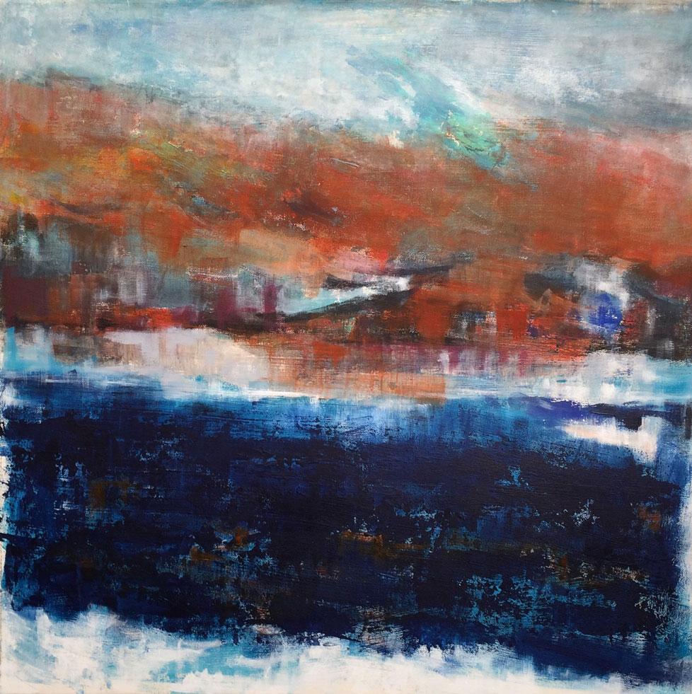 N°2536 - Rivage énigmatique - Acrylique et pigments sur toile - 90 x 90 cm - 20 juin 2016