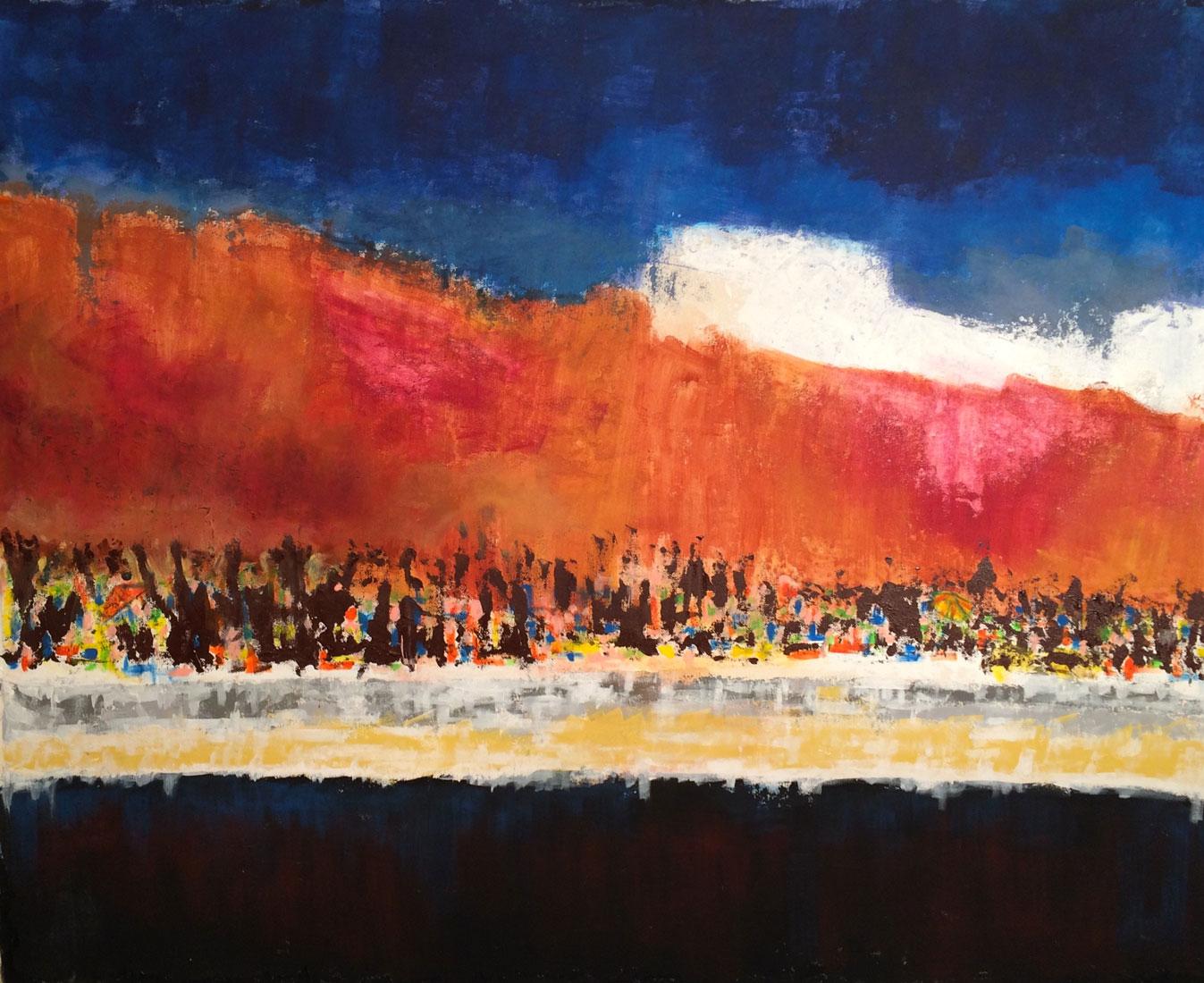 N°2572 - Plage - Acrylique et pigments sur toile - 130 x 162 cm - 10 septembre 2016