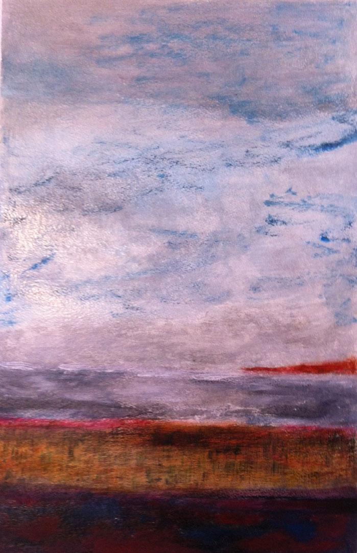 N°259 - La mer à la Vallée des Lys - Acrylique sur papier - 58 x 37 cm - 24 février 2013