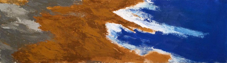 N°3058 - Bord de Grèce - Acrylique et pigments sur toile - 24 x 84 cm - 20 septembre 2016