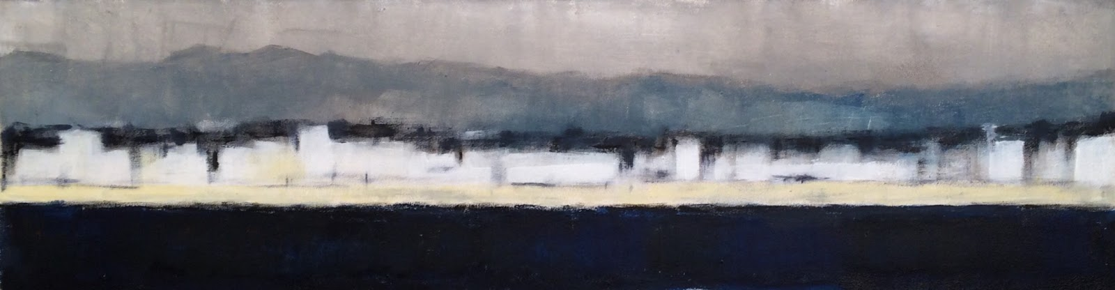 N° 3067 - Bord de mer languedocien - Acrylique sur toile - 26 x 100 cm - 23 septembre 2016