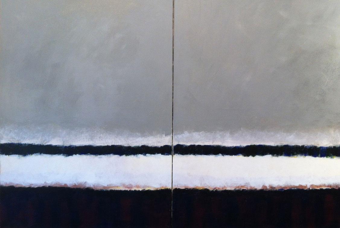 N° 394 - Bord de mer languedocien - Acrylique sur toile - Diptyque 2 (81 x 60 cm) - 24 mai 2013