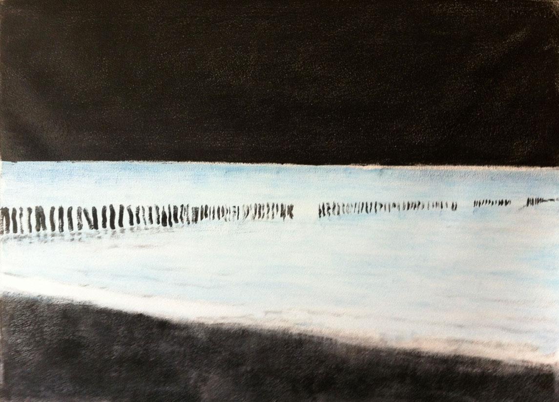 N°457 - Nocturne au bord de l'eau - Acrylique sur papier sur carton - 65 x 76 cm - 19 mai 2013