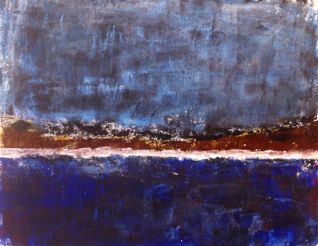 N°637 - Grande bleue - Acrylique sur toile - 44 x 56 cm - 14 septembre 2013
