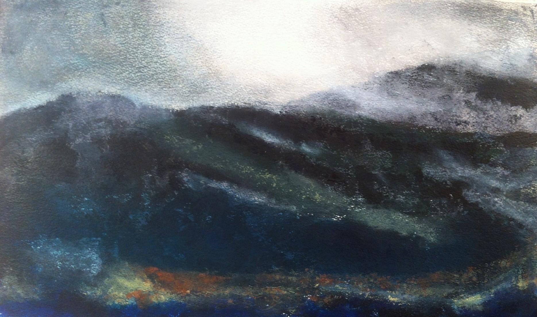 N°754 - Mer ou montagne - Acrylique sur papier - 36 x 59,5 cm - 26 octobre 2013