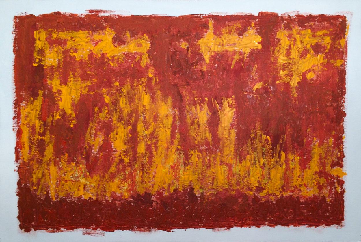N°2428 - Feu - Acrylique et pigments sur carton - 80 x 120 cm - 2 mai 2016
