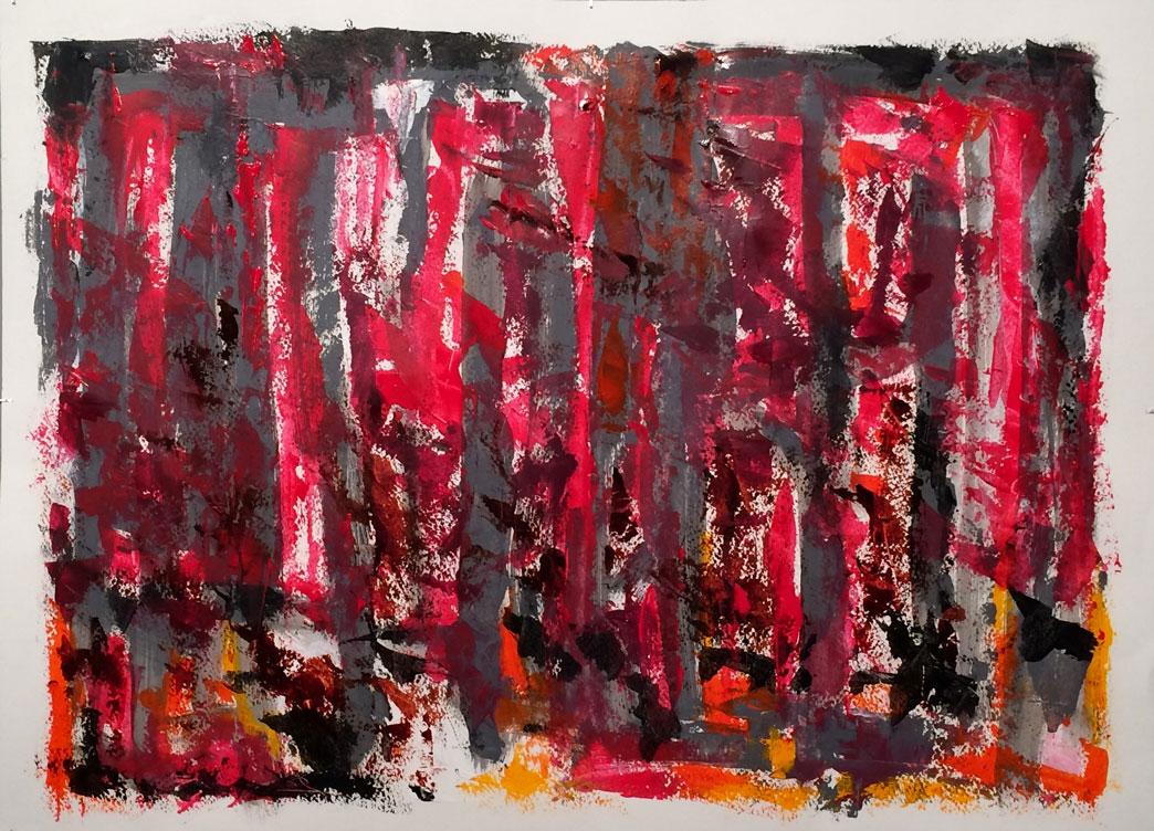N°3256 - Feu de Forêt - Acrylique sur papier - 55 x 75 cm - 10 avril 2017