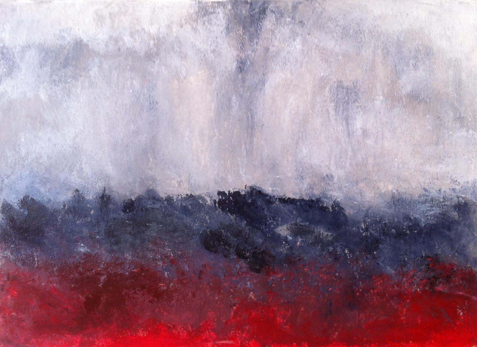 N°745 - Terre en feu - Acrylique sur papier - 39 x 53,5 cm - 23 octobre 2013