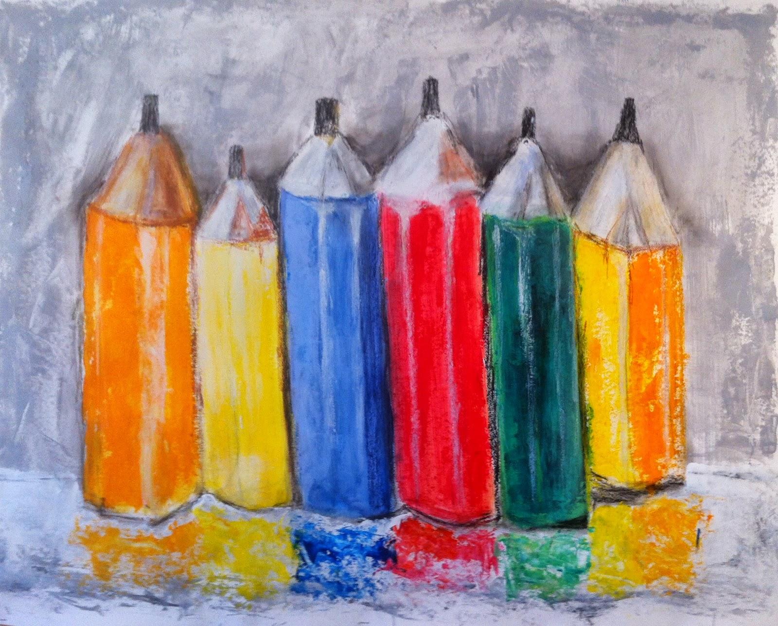 N°149 - Nature morte aux crayons de couleur - Acrylique et pastel sur papier - 95 x 123 cm - 10 juillet 2014
