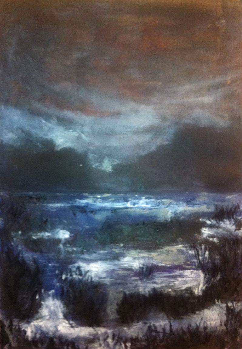 N°1214 - Nuit sur l'étang de Vaccarès - Acrylique sur papier - 61 x 43 cm - 27 février 2014