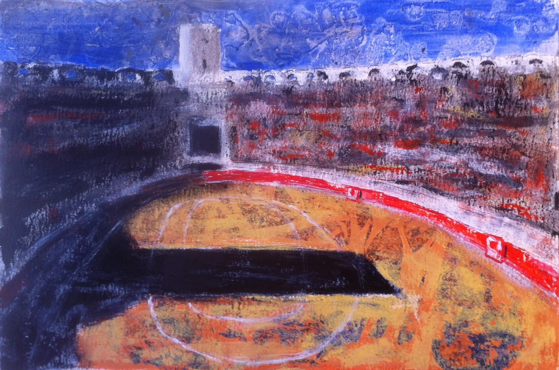 N°1366 - Sol y sombra aux arènes d'Arles un dimanche pascal - Acrylique sur papier - 37 x 55 cm - 23 avril 2014