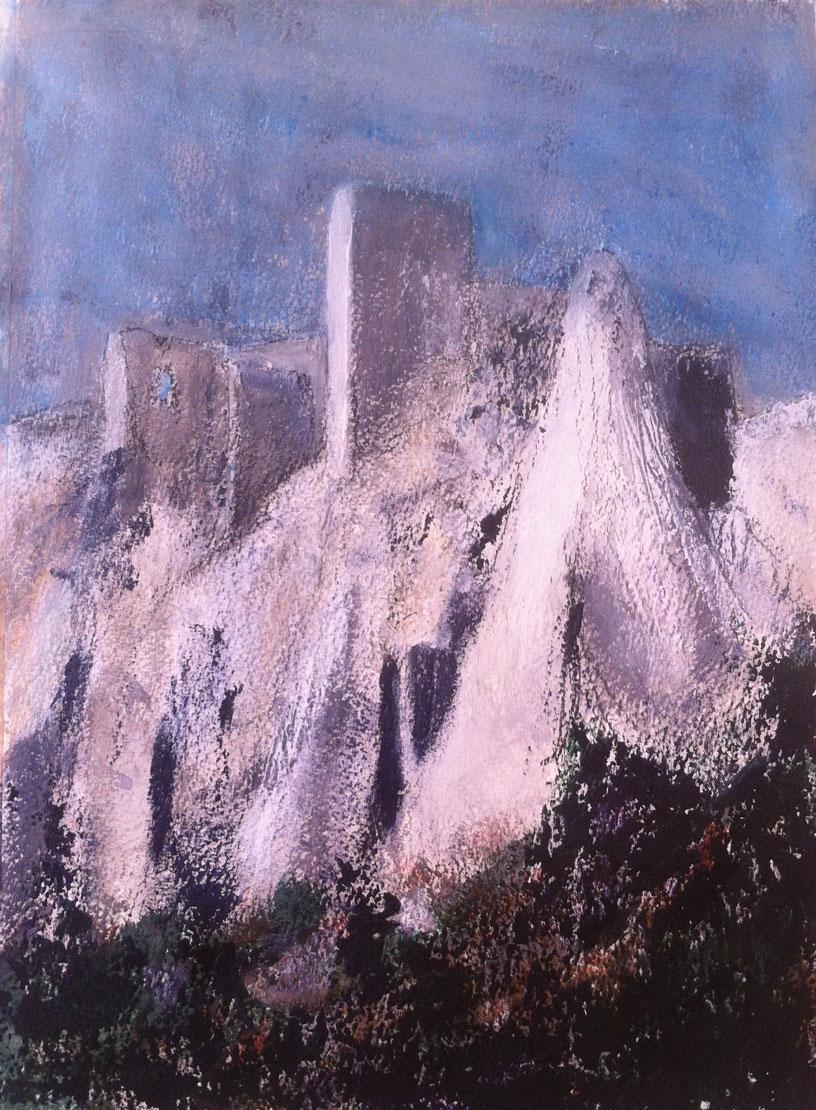 N°1402 - Citadelle minérale sur le rocher des Baux - Acrylique sur papier - 36,5 x 27,5 cm - 7 mai 2014