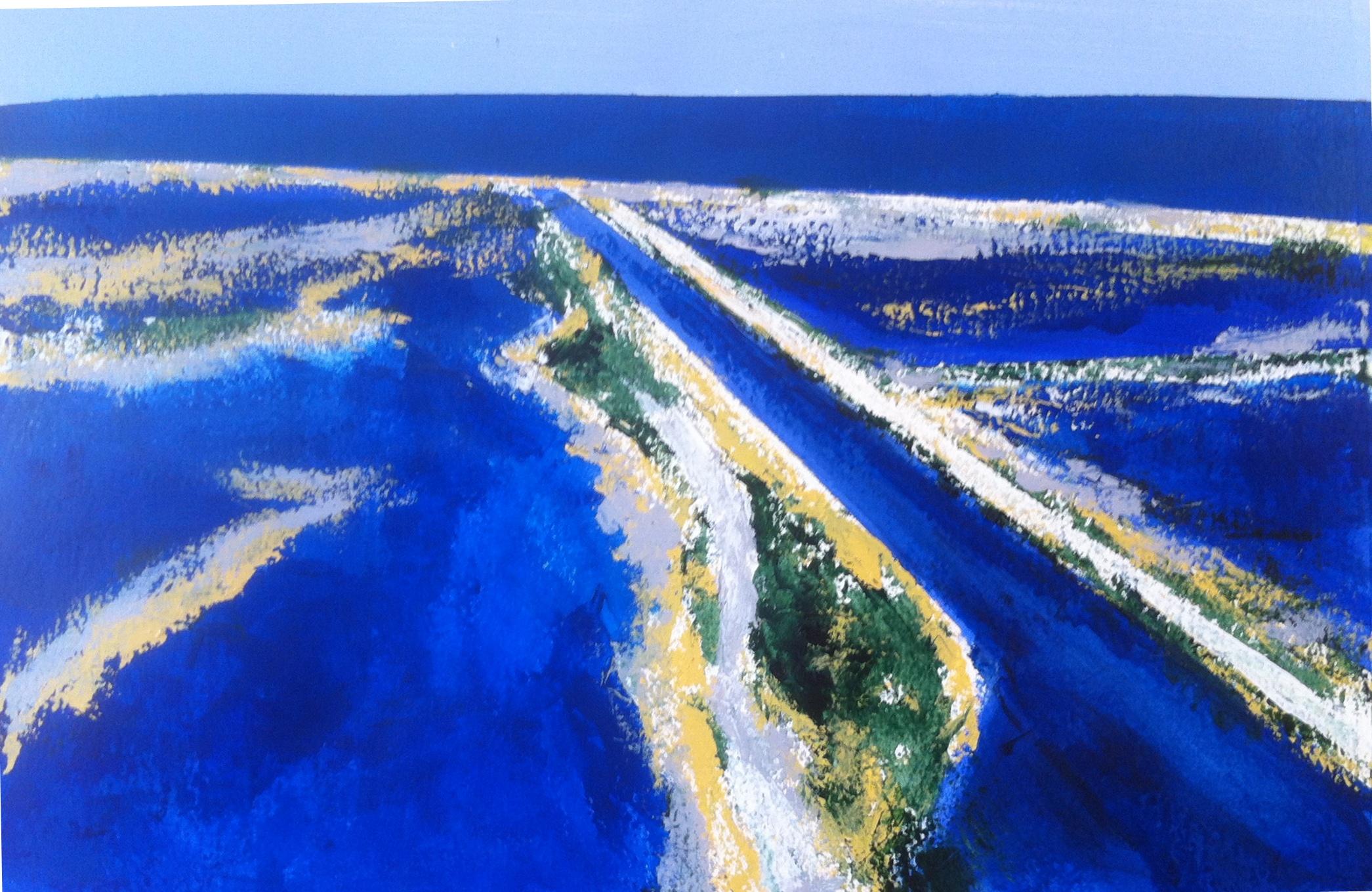 N°1465 - Marais salants - Acrylique sur papier - 37 x 54,5 cm - 3 juin 2014