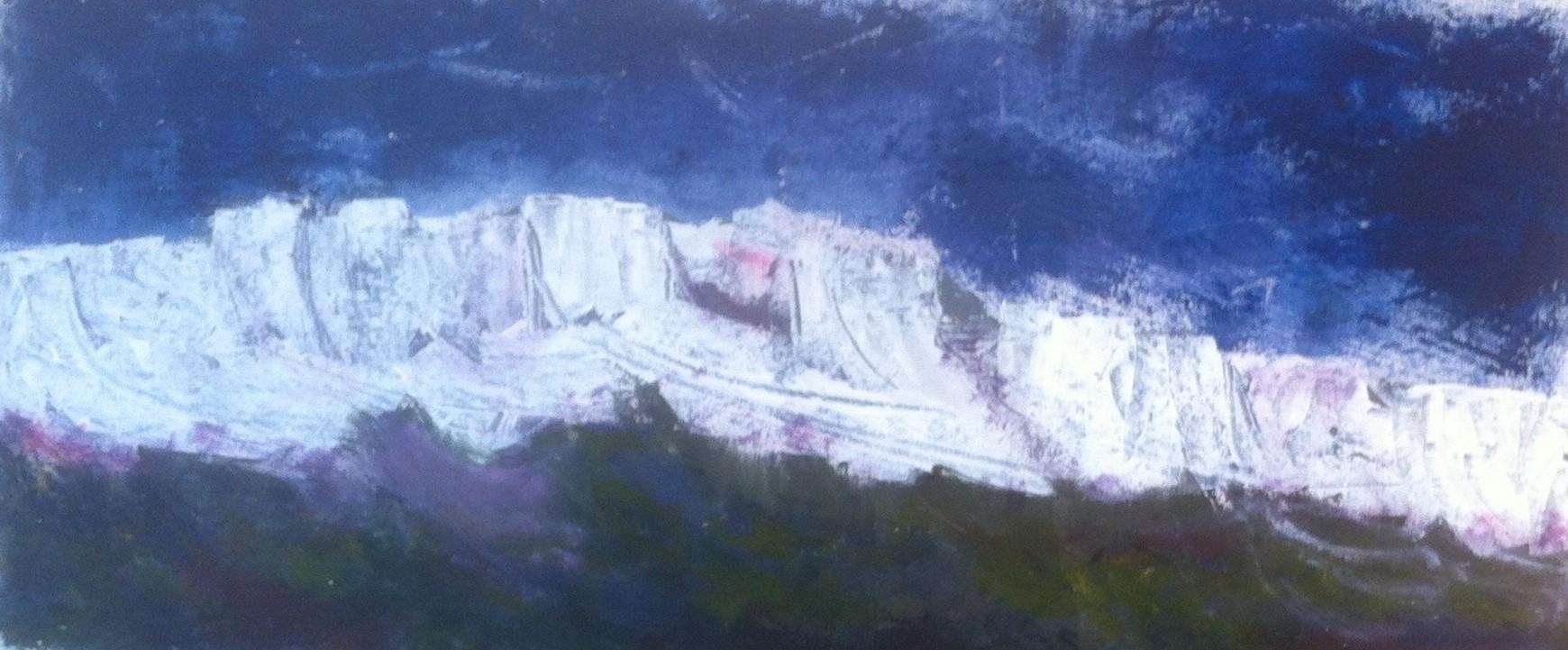 N° 1582 - Au pied des Baux - Acrylique sur toile - 91 x 96 cm - 26 septembre 2014