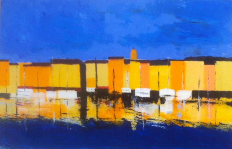 N°1690 - Le port de Saint-Tropez - Acrylique sur toile - 60 x 92 cm - 20 novembre 2014