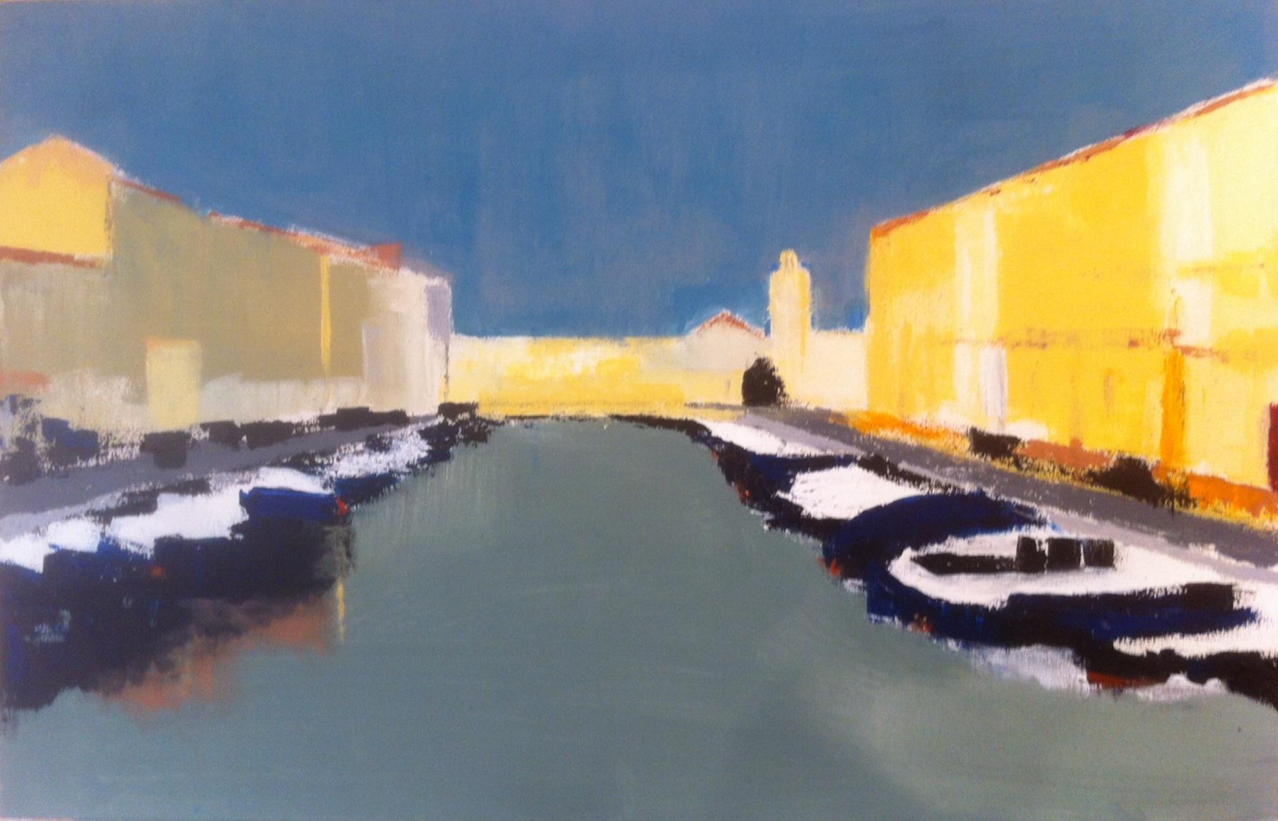 N°1708 - Le grand canal à Sète - Acrylique sur toile - 60 x 92 cm - 27 novembre 2014