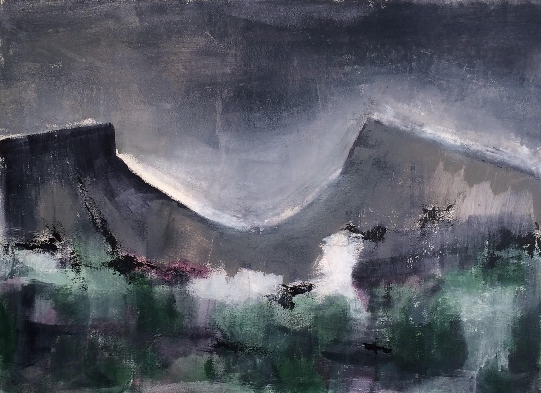 N°3193 - Pic Saint-Loup - Acrylique sur toile - 54 x 73 cm - 5 janvier 2017