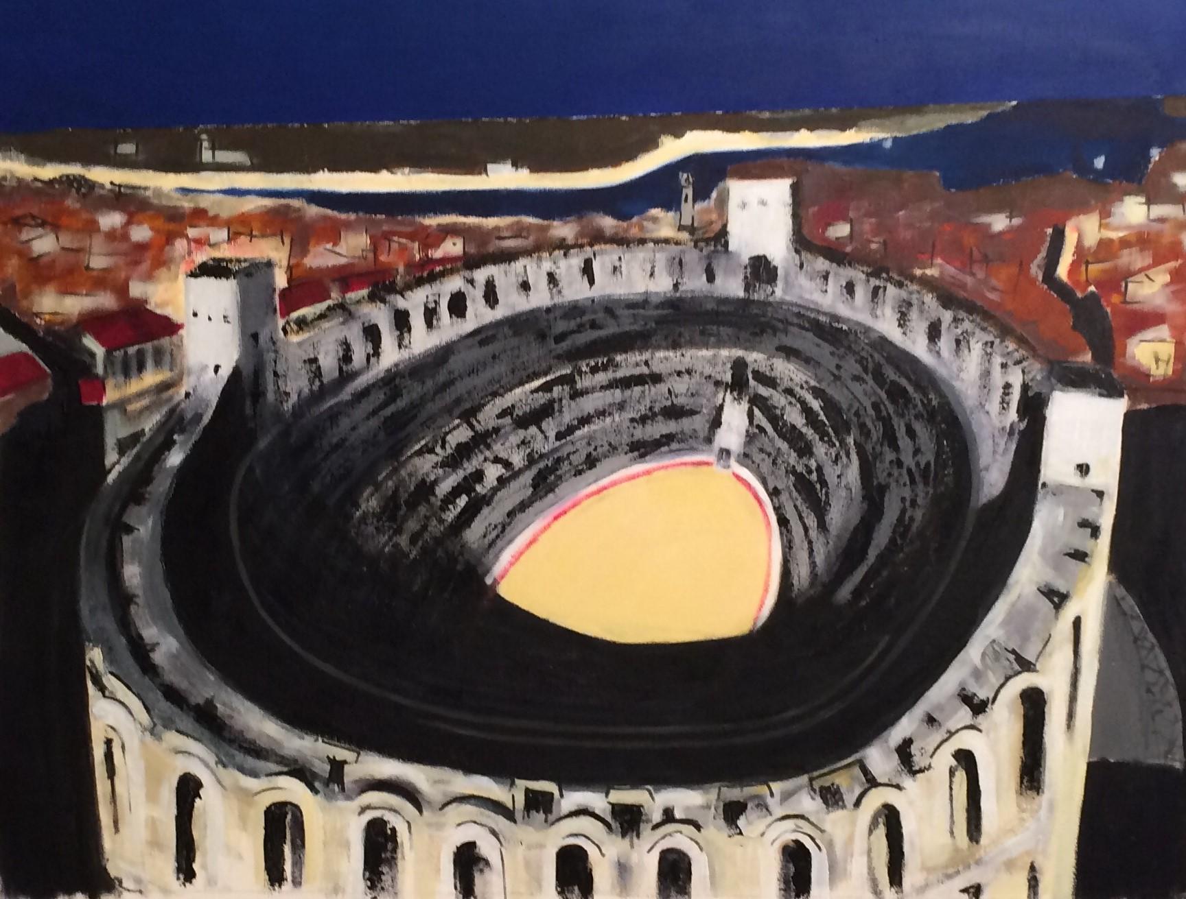N°3301 - Arles, En attendant la feria - Acrylique sur toile - 89 x 116 cm - 10 mai 2017