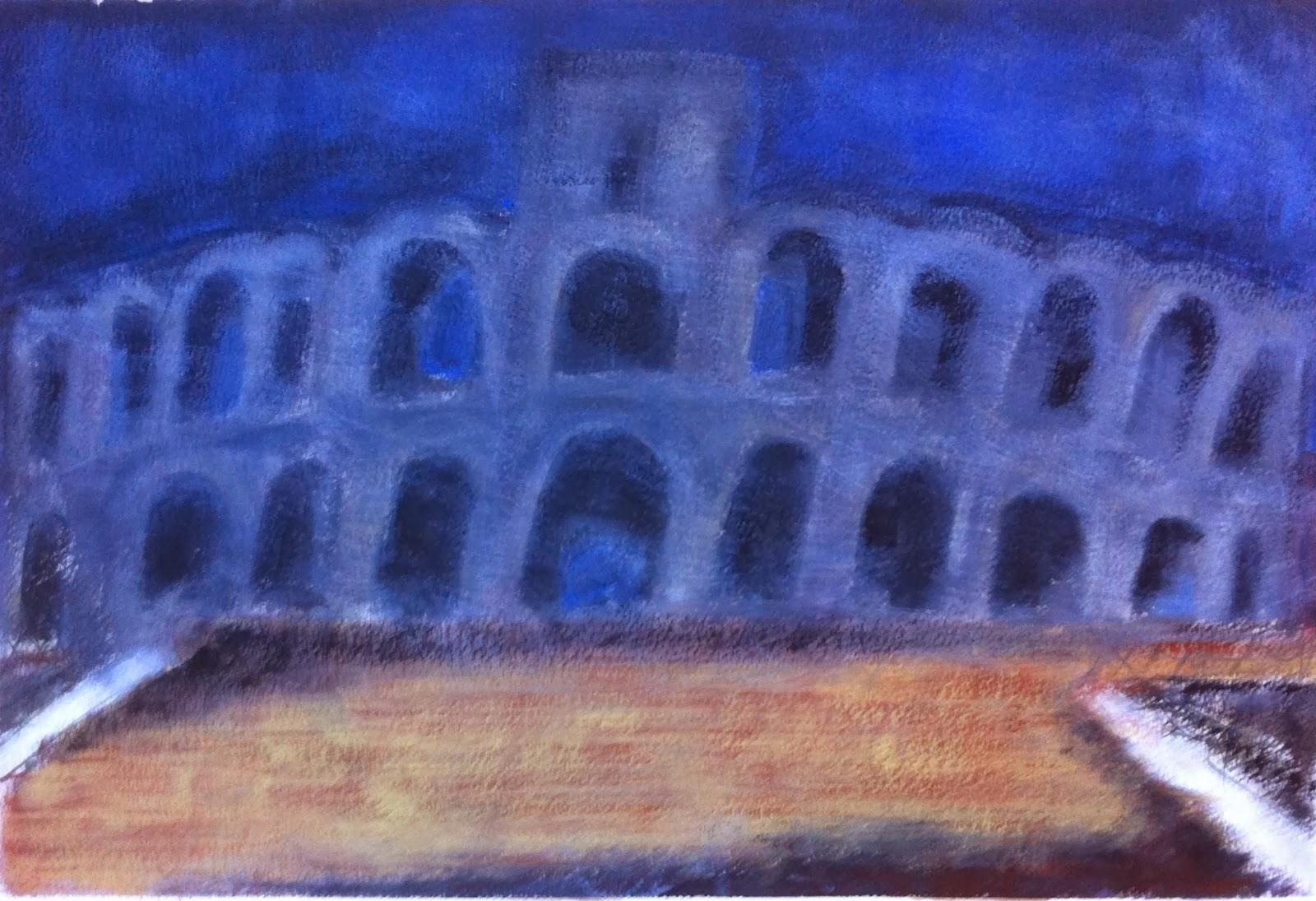 N°691 - Coup de mistral sur les arènes d'Arles - Acrylique sur papier - 36 x 53,5 cm - 8 octobre 2013
